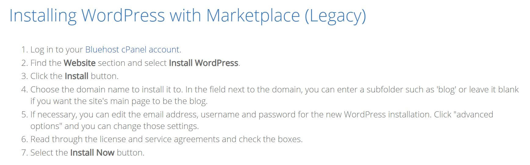 bluehost - installing wordpress with marketplace
