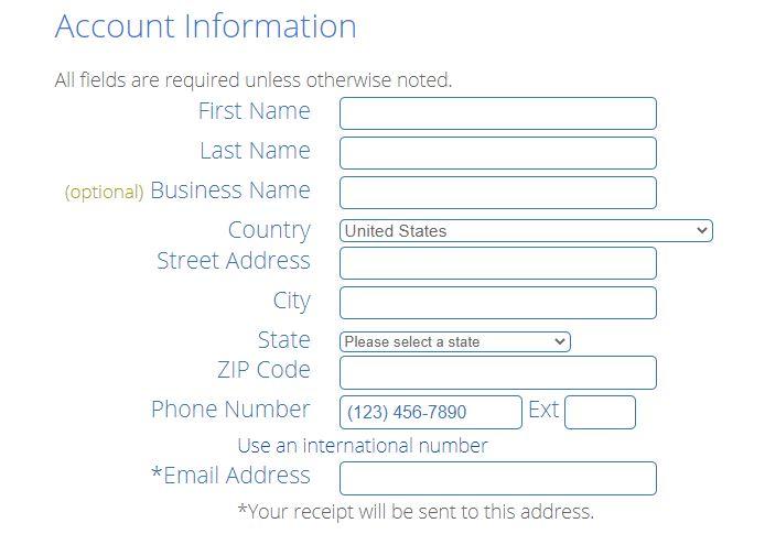 Bluehost - Set up billing details
