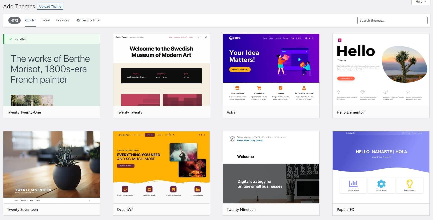 Select a Theme - WordPress