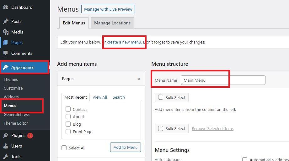 wordpress create menu