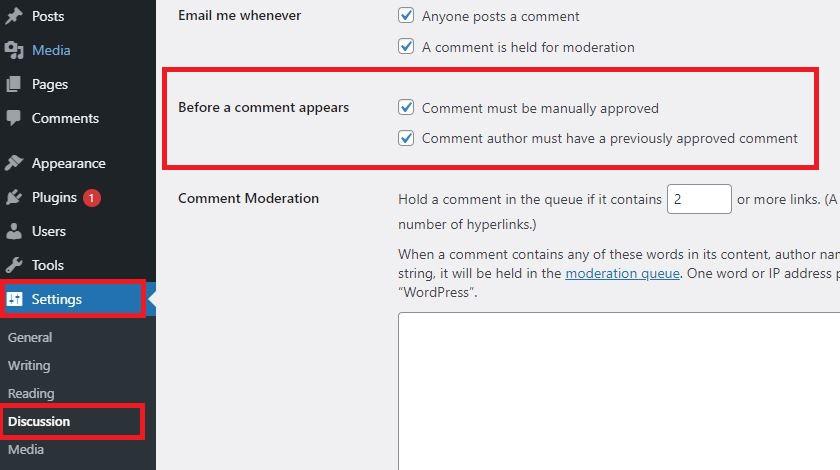 WordPress Settings Discussions