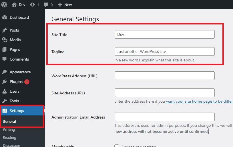 WordPress Settings General